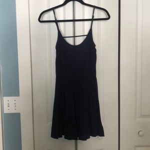 Navy Blue Open Back Dress with Ruffled Skirt
